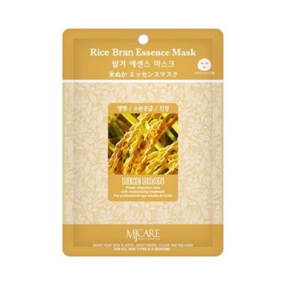 Маска тканевая для лица Mijin Essence Mask Rice Bran рисовые отруби